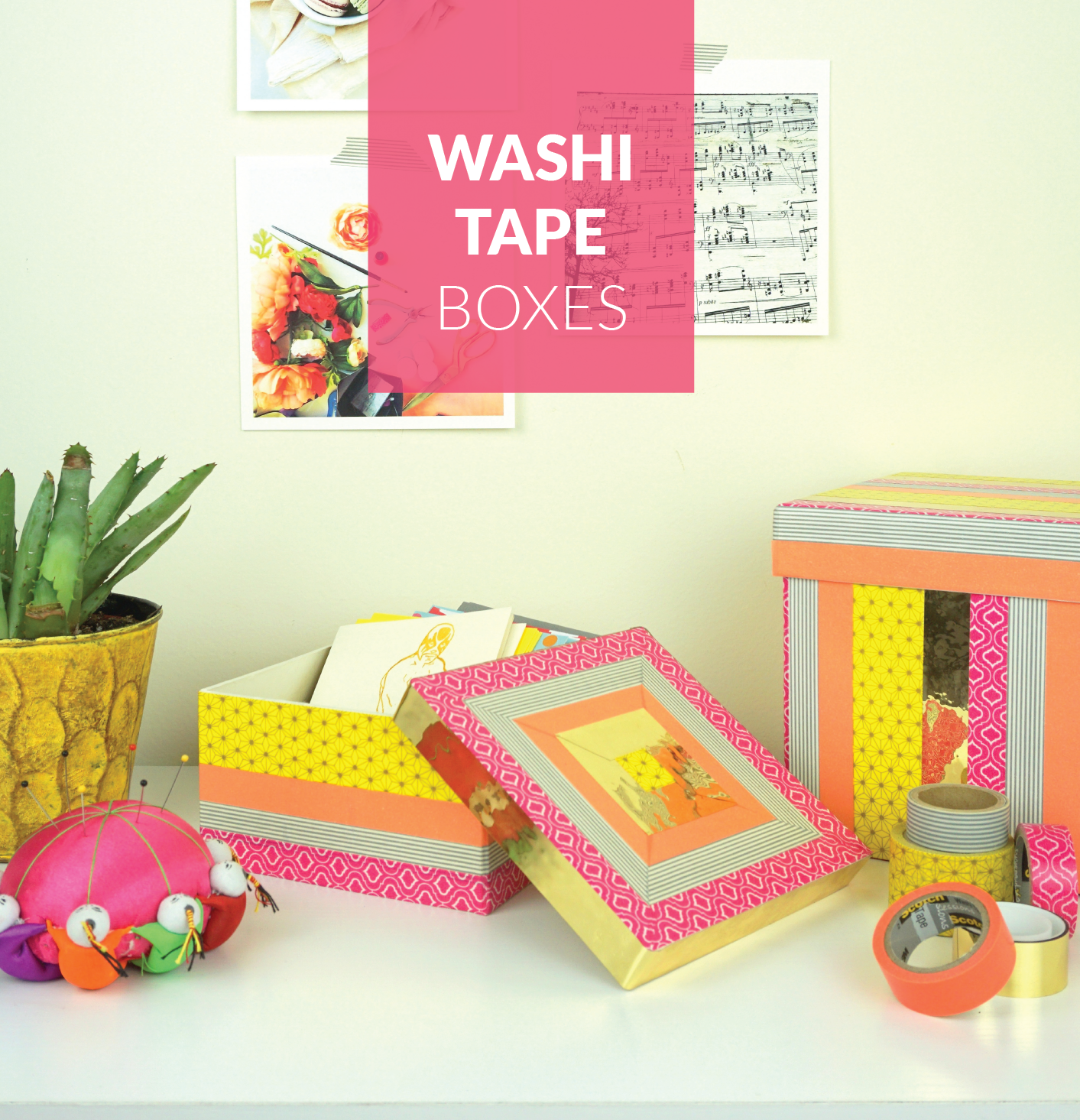 Washi tape decorative boxes for Decoration usine vintage