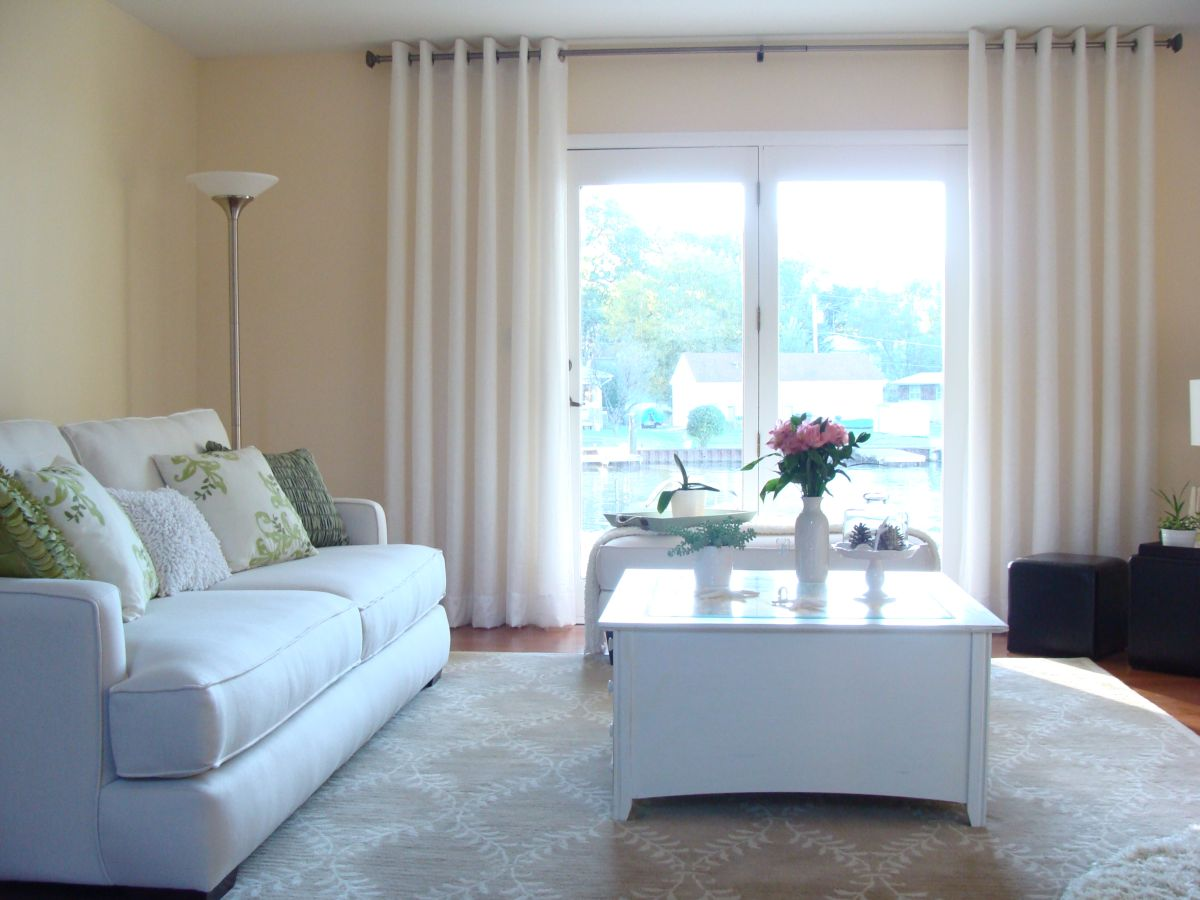 1 white chrome grommet - Window Treatments For Small Living Rooms