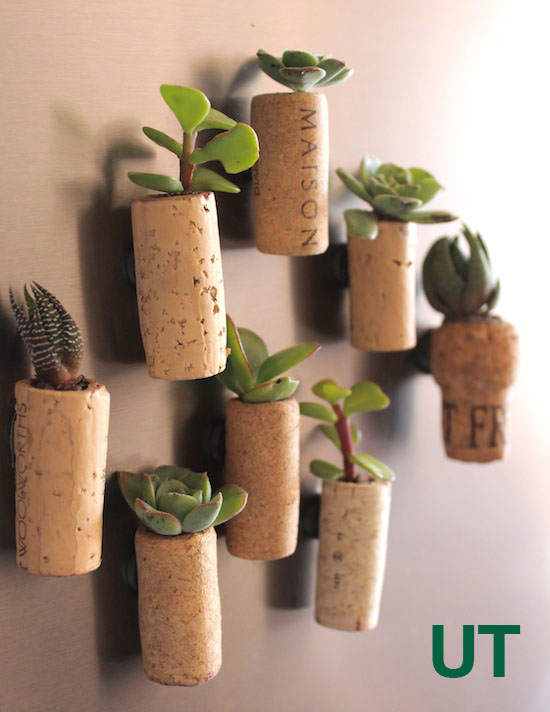 Wine cork magnetic fridge