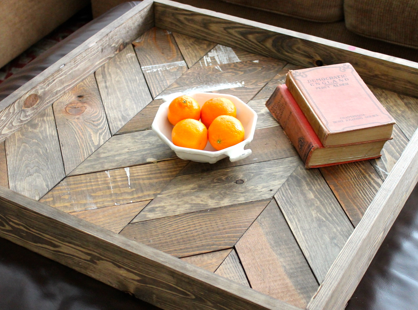 Wooden and rustic chevron tray