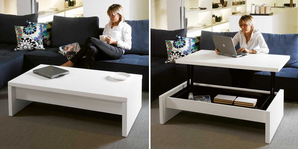 More Functions In A Compact Design Convertible Coffee Tables - Coffee and dining table combo