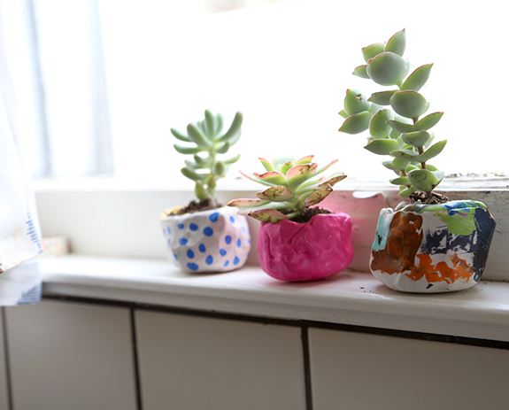 air dry clay flower pots