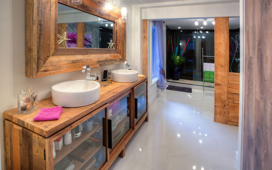 building bathroom. Bathroom-that-used-wood-like-primary-material Building Bathroom E