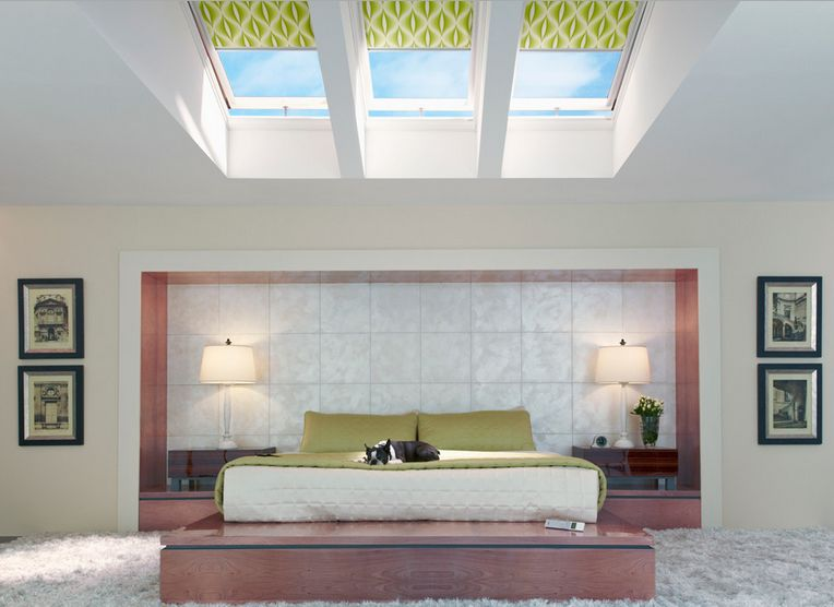 Modern skylight shades to adjust the light with for Bedroom skylight
