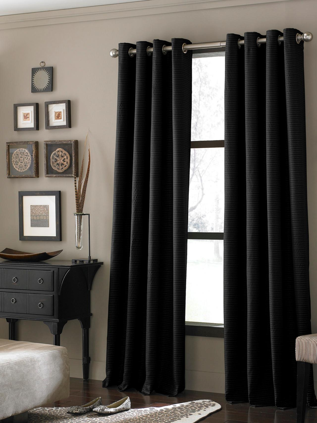 black-textured-curtains & Different Living Room Window Treatments