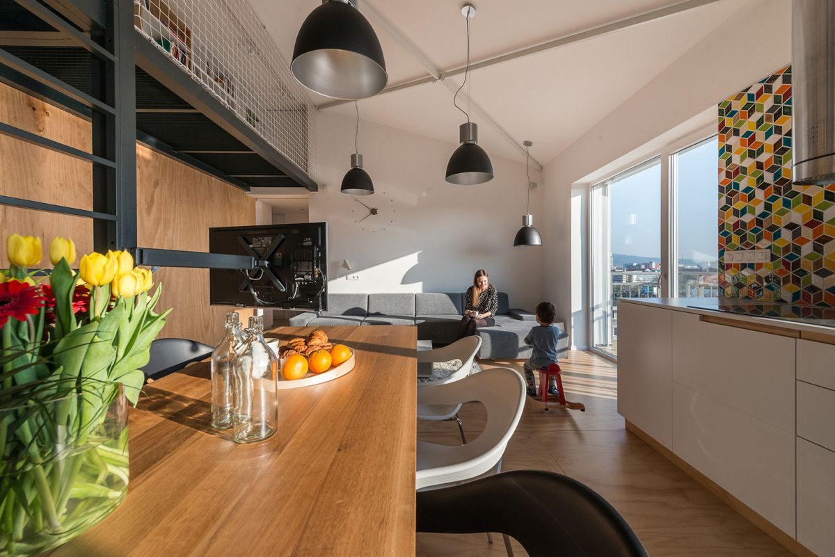 Contemporary loft designed to look and feel casual for Bratislava apartments