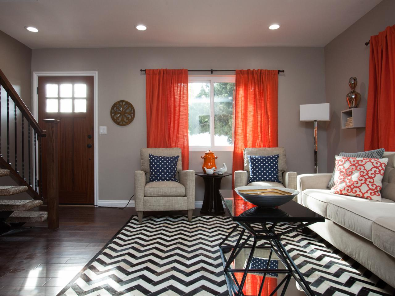 Grey curtains living room - Orange Blast