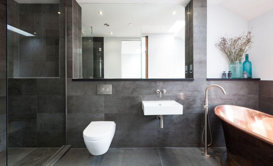 Contemporary Grey Tiles And Copper Bathtub