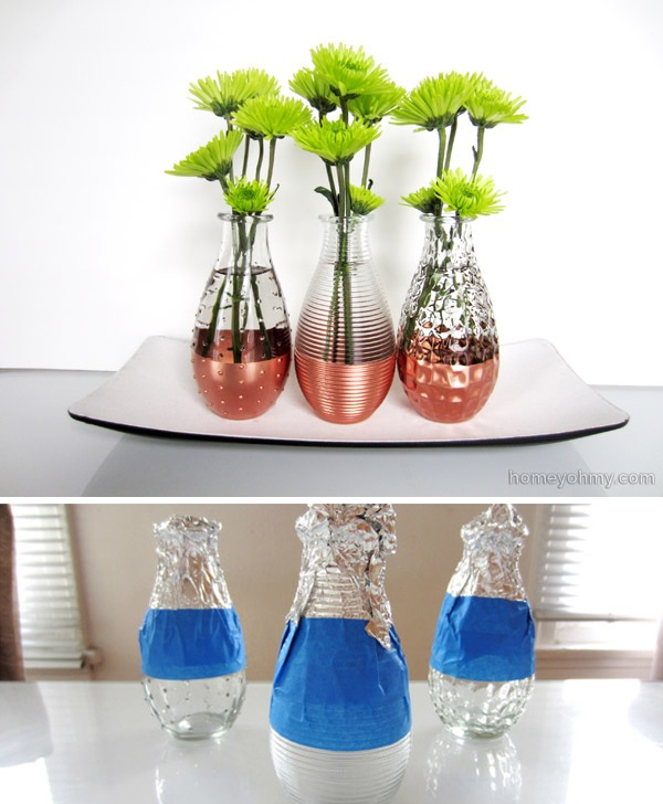 copper dipped vases