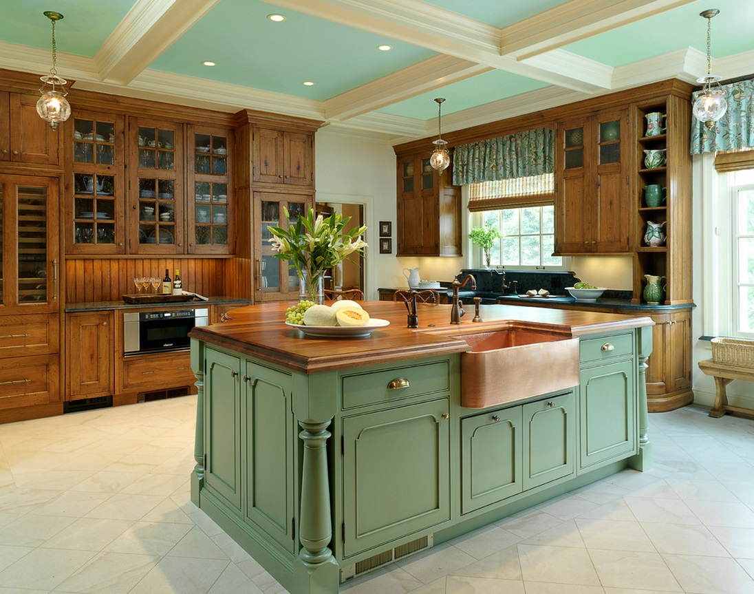 white traditional kitchen copper. Copper-sink-and-green-island White Traditional Kitchen Copper