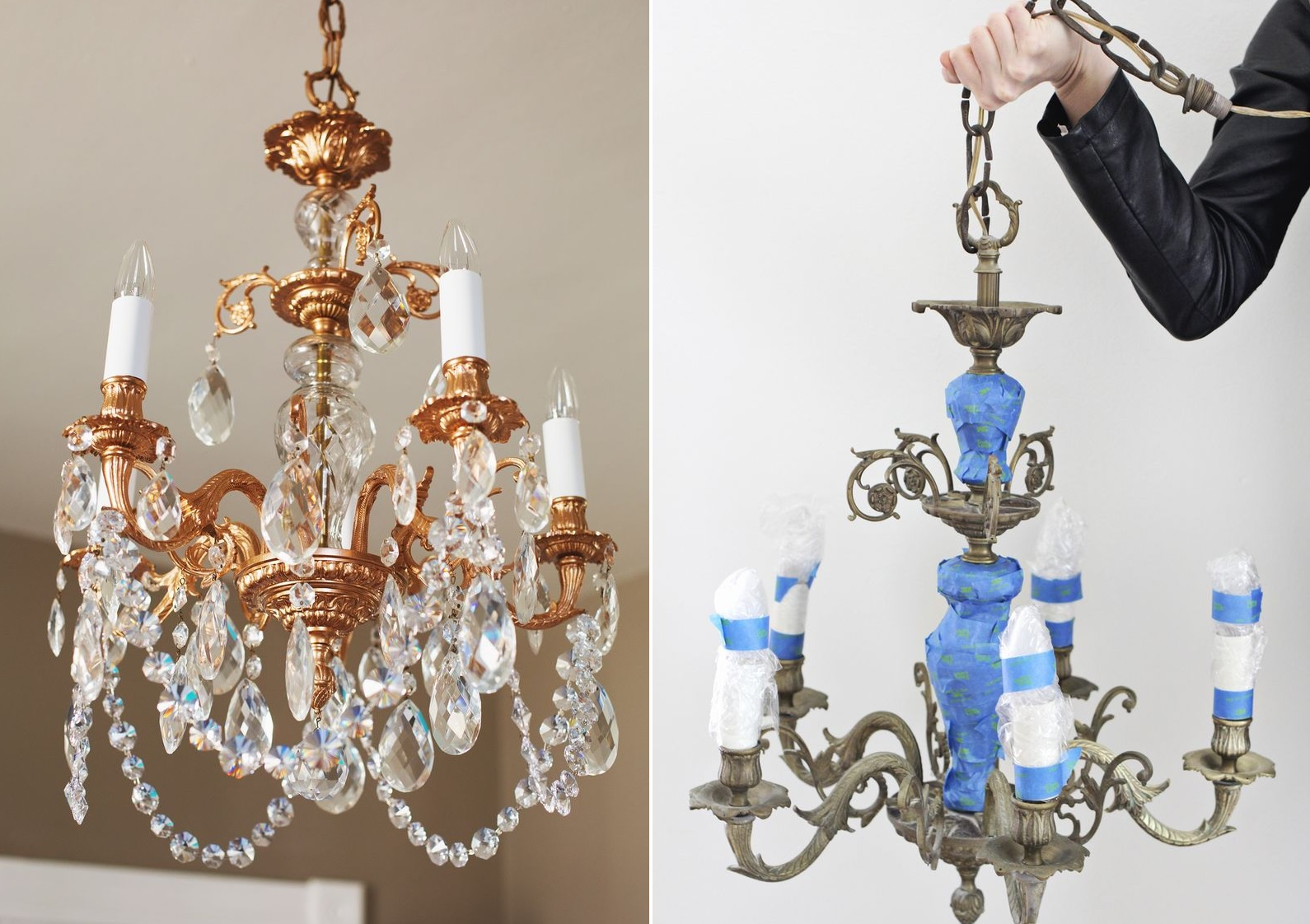 Spray Paint Decor Ideas Part - 22: Copper-spray-paint-chandelier