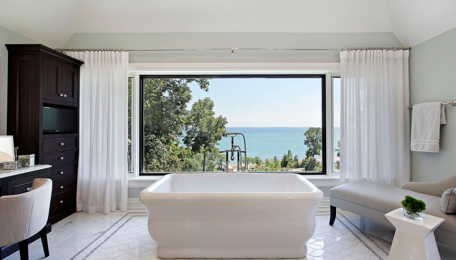 Curtains Can Add Privacy For Large Windows Bathroom
