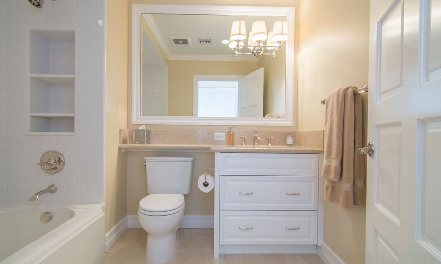 Bathroom Vanity Extension over the toilet storage and design options for small bathrooms