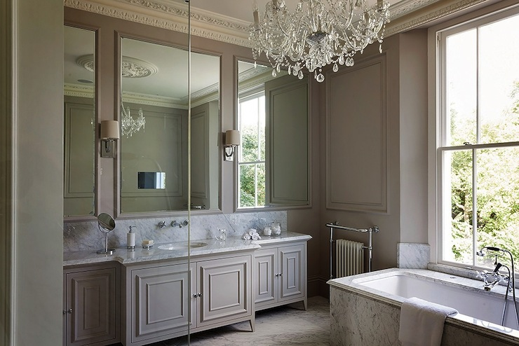 Elegant Bathroom With Taupe Walls