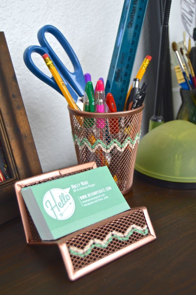 embroidered desk accessories