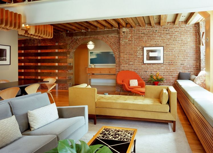 Exposed Bricks Wall Corner Yellow Sofa