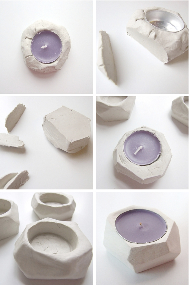 faceted-clay-tealight-holders