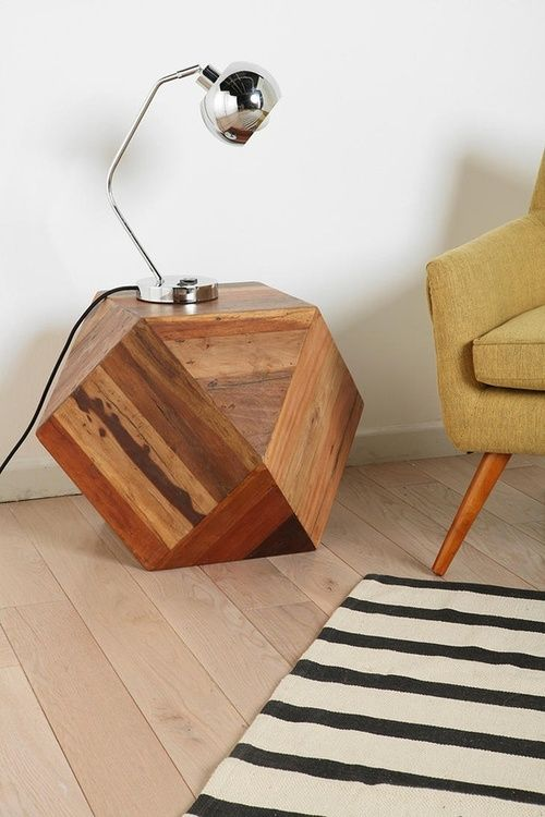 faceted wood style block side table