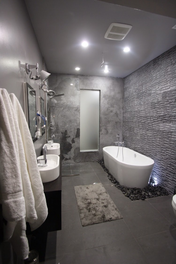 full grey bathroom - Gray Bathroom Ideas