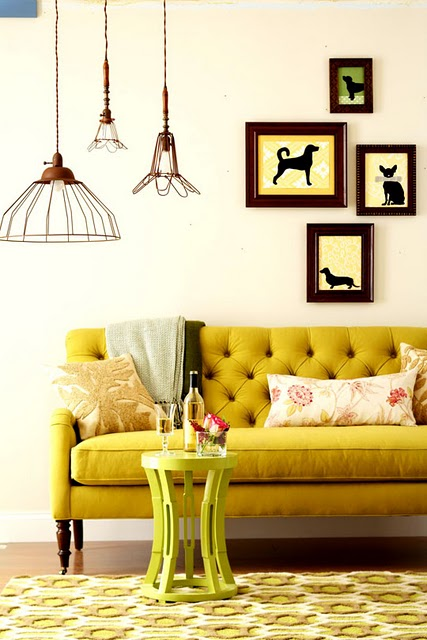 Cage Pendant Inspiration Love The Mustard Yellow Couch