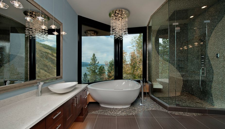 Large Luxury Bathroom With Chandelier Lighting Fixture View In Gallery