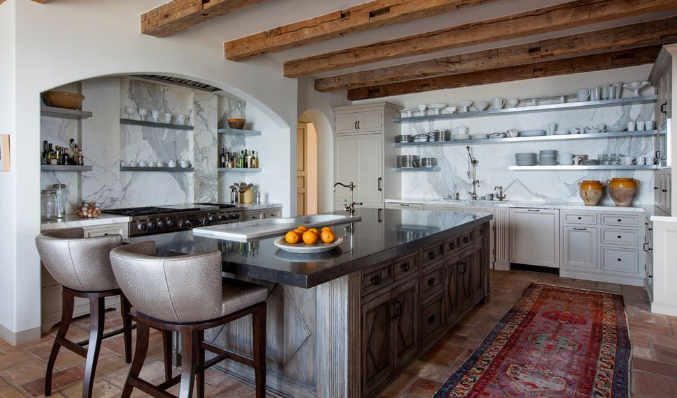 low-kitchen-ceiling-exposed-beams-and-stainless-steel-shelves