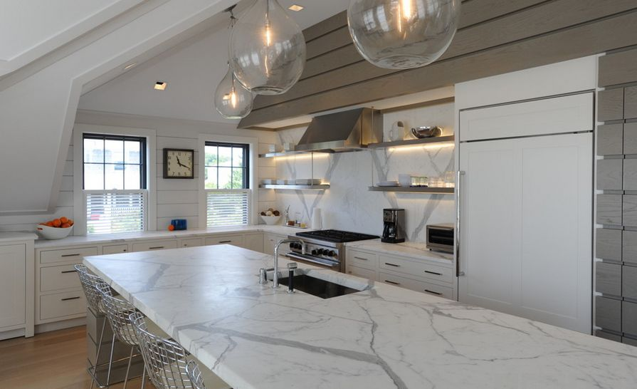 Marble Kitchen Decor Ideas View In Gallery. Stainless Kitchen Shelves ...