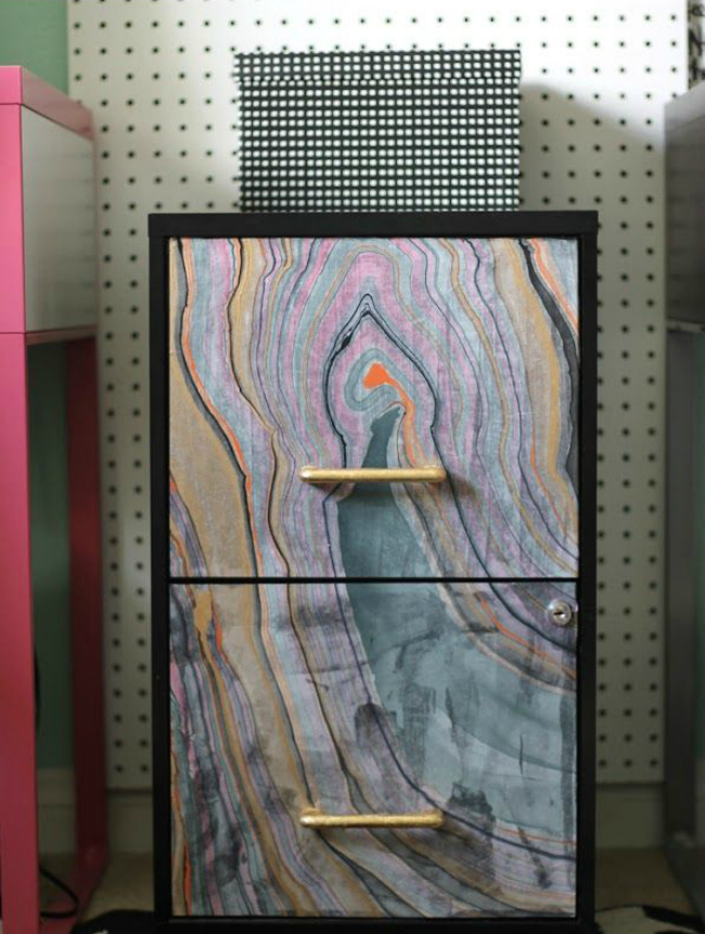 marbled filing cabinet