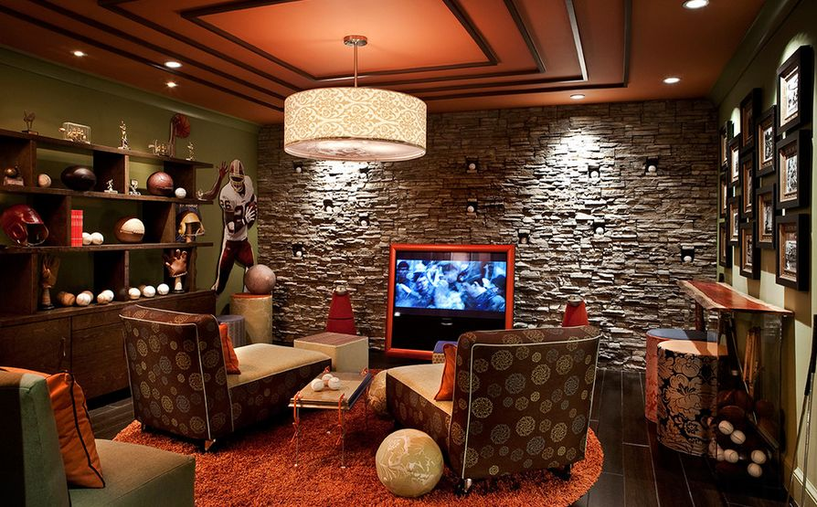 Wall textures and dcor ideas. media-room-man-cave-decor