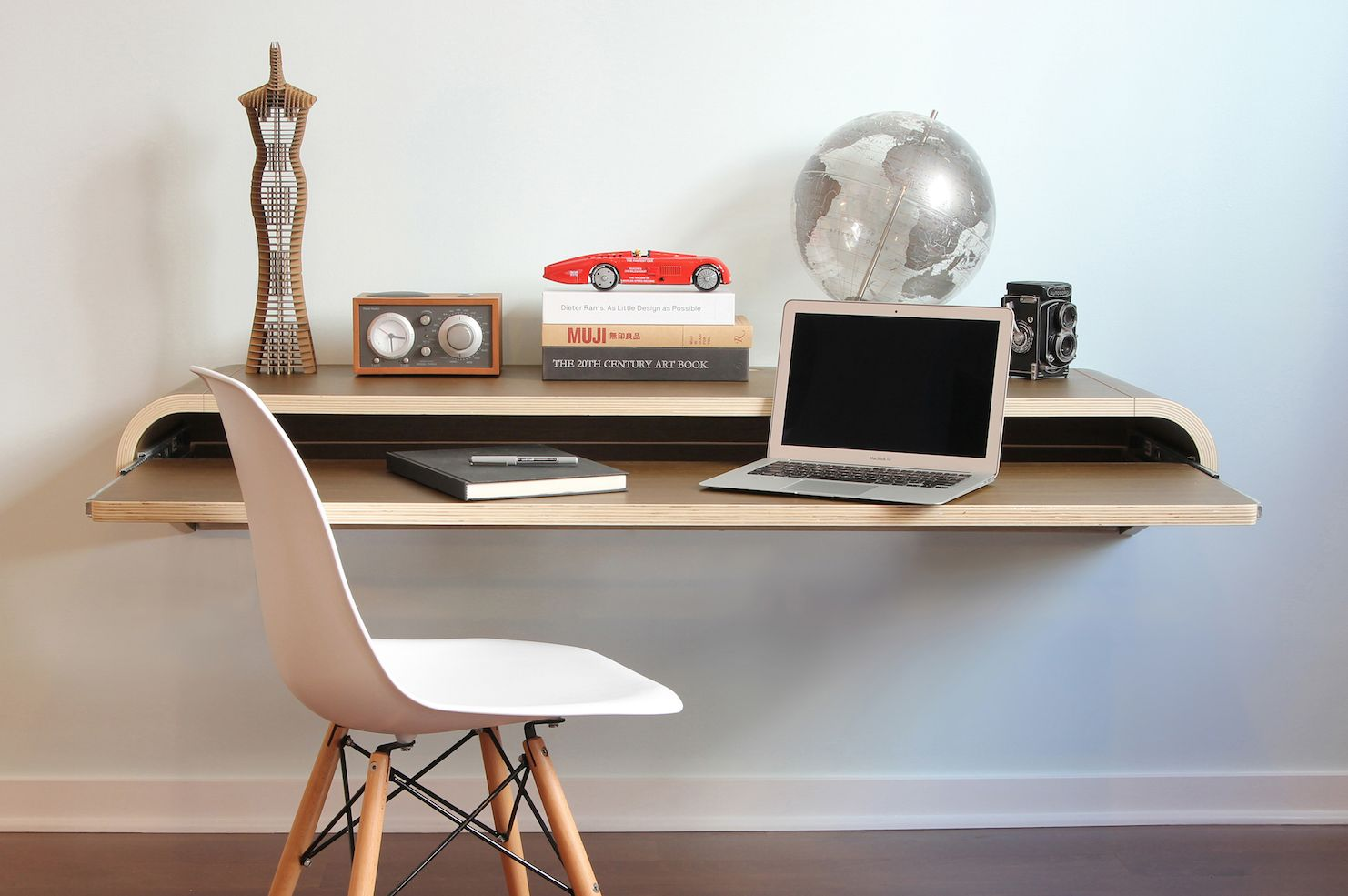 Delightful Minimal Wall Desk Walnut