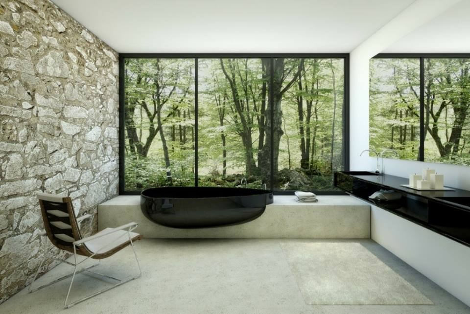 Delicieux Minimalist Bathroom Design With A View