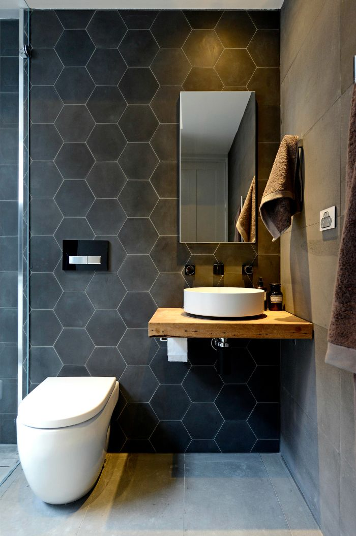 White Hexagon Backsplash Bathroom