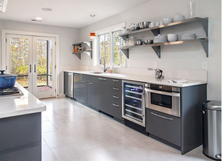 Modern Kitchen With Stainless Steel Shelves