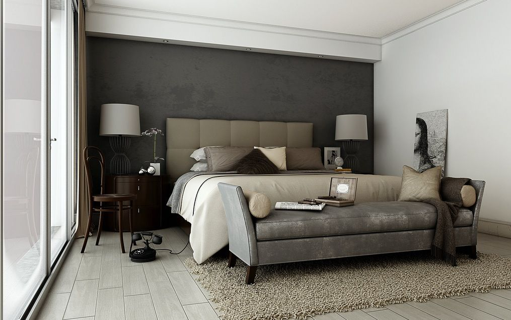 Modern Master Bedroom With Taupe Design