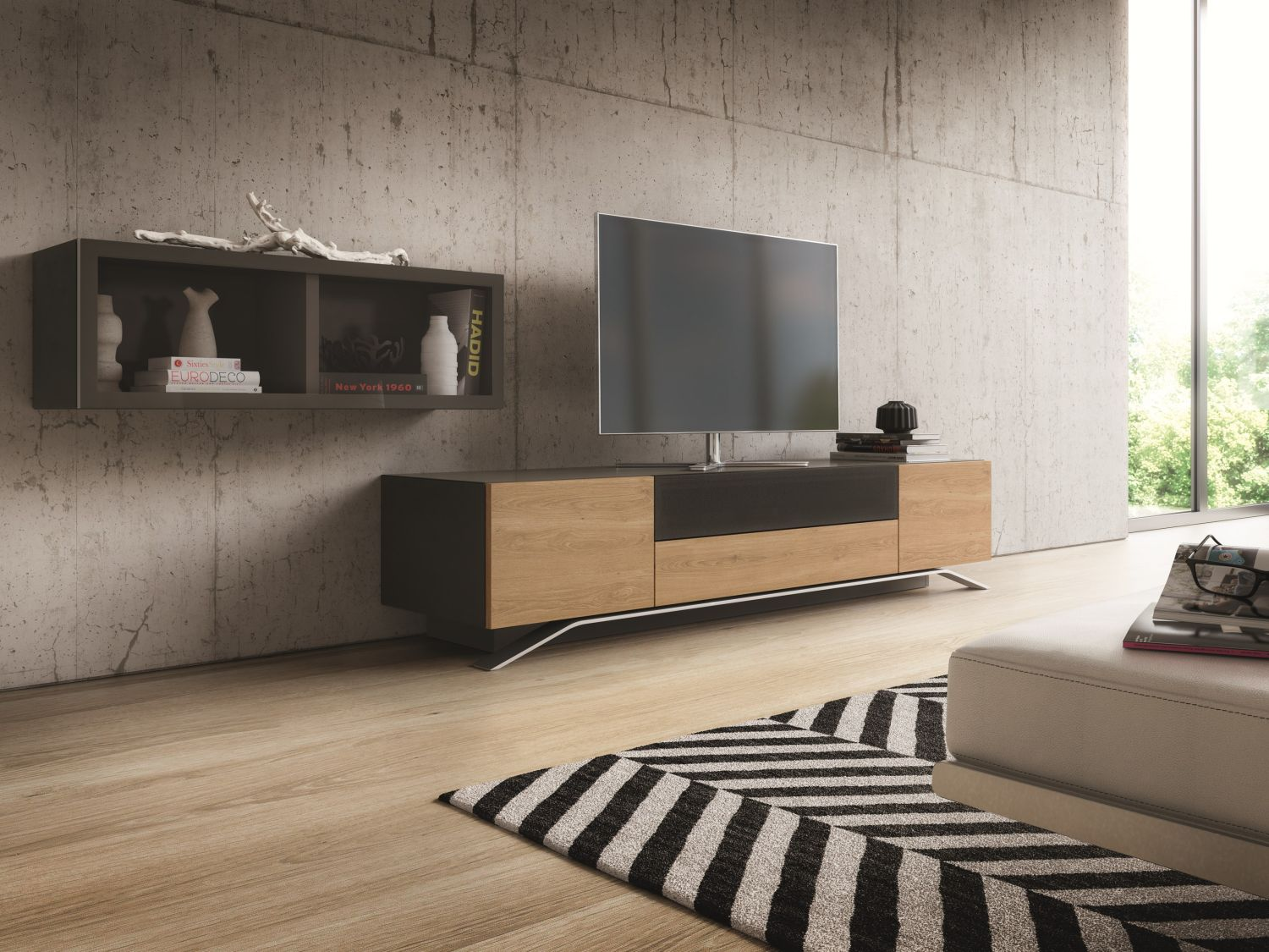 modern media console designs showcasing this style 39 s best features. Black Bedroom Furniture Sets. Home Design Ideas