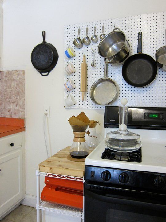wonderful Using Pegboard In Kitchen Part - 4: mount-pegboard-kitchen