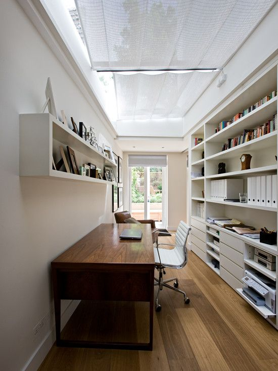 Narrow Home Office With Ceiling Skylight
