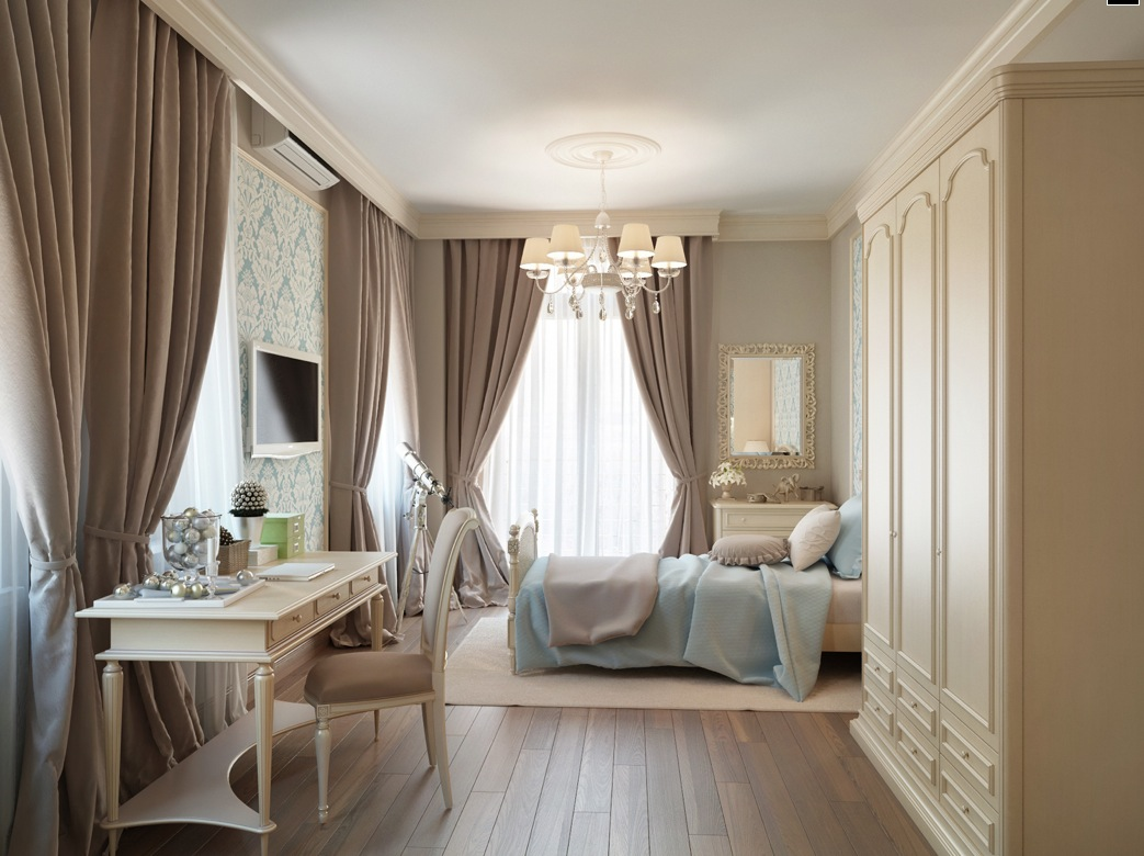 Nice Bedroom With Taupe Plush Curtains