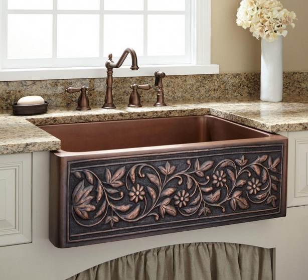 ornate-copper-kitchen-sink