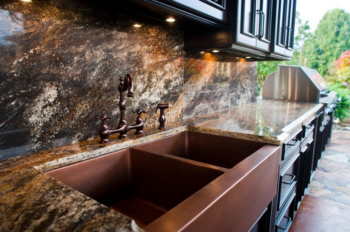 Superb Copper Kitchen Countertops #1: Outdoor-kitchen-double-copper-sink.jpg