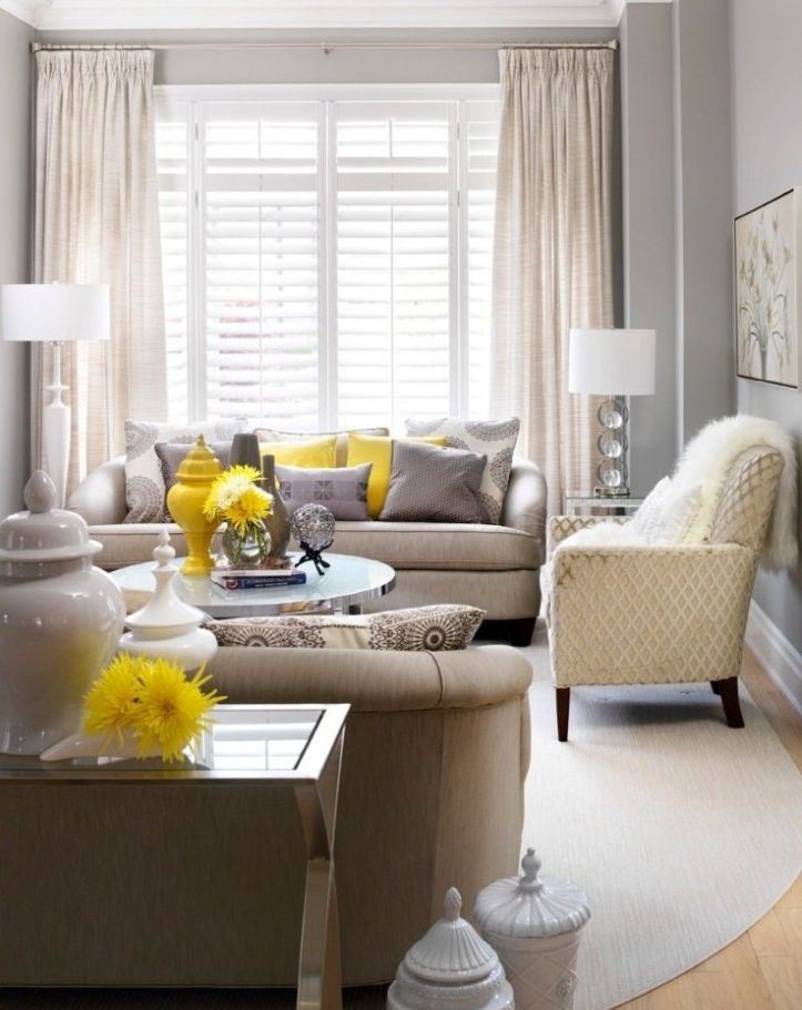 Pops Of Yellow Taupe Sofa