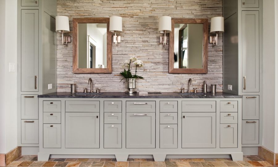 Residence With Gray Bathroom Vanity