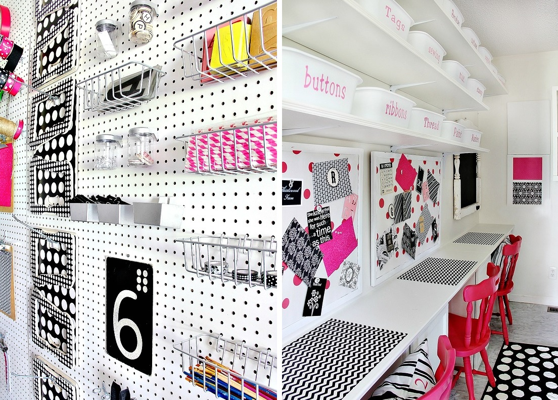 70 resourceful ways to decorate with pegboards and other for Building a craft room