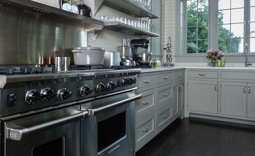 How to mix and match stainless steel kitchen shelves with for Stainless steel drawers kitchen