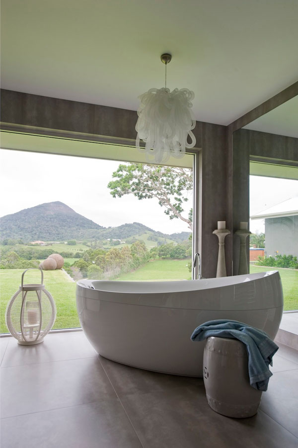 White Chandelier Above The Bathtub