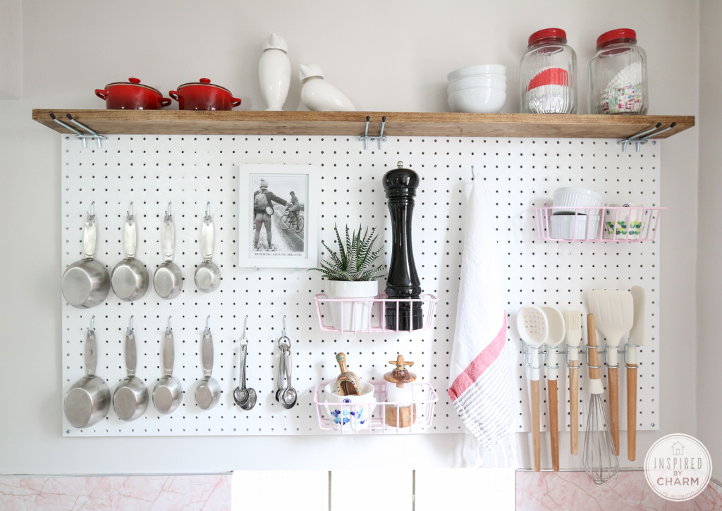 white-pegboard-and-wood-shelf-for-kitchen