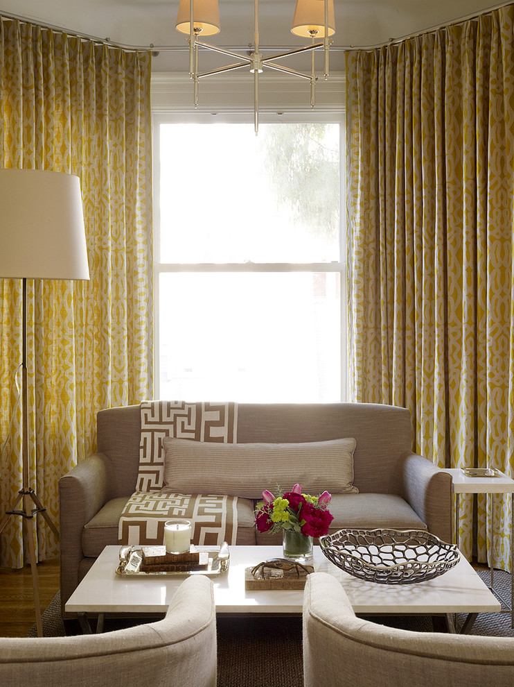 Yellow Curtains Retro Taupe Decor Contemporary Living