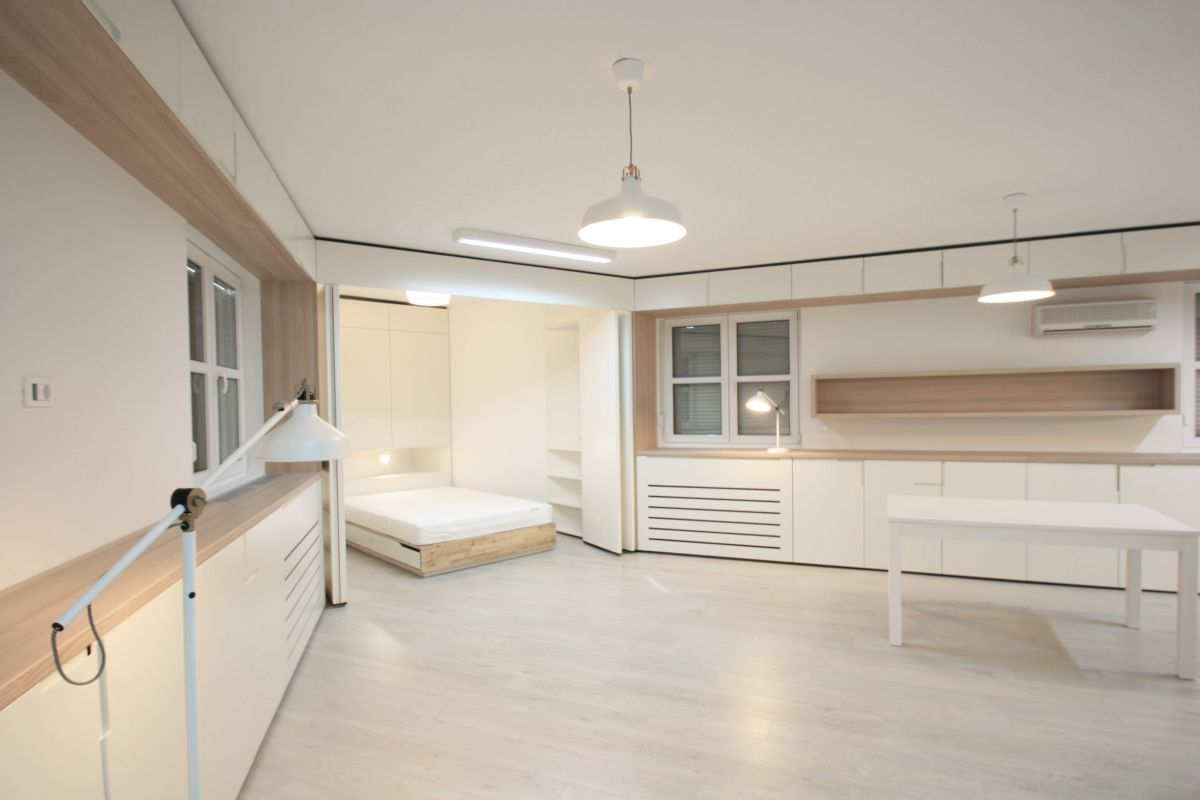 Zagreb apartment sleeping and dining areas