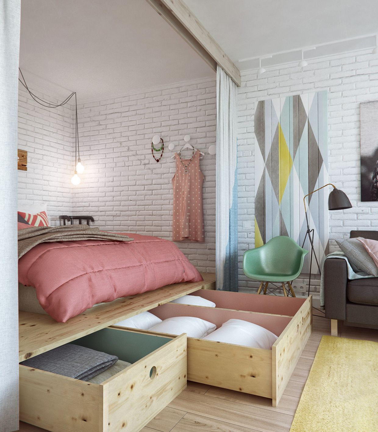 45 square meters apartment design bedroom