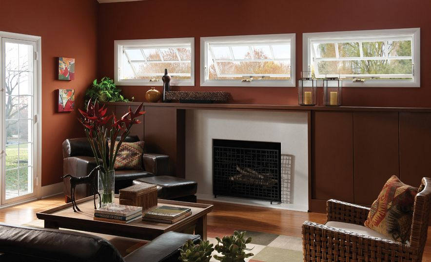 Awning Windows above the fireplace mantel